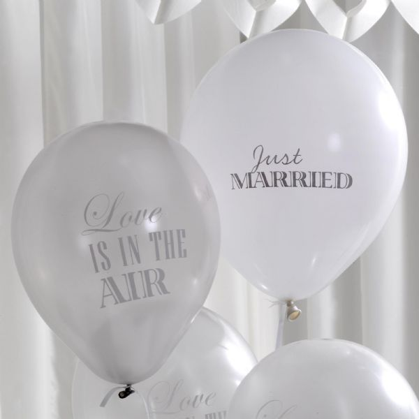 Chic Boutique Just Married Balloons - White & Silver (8)